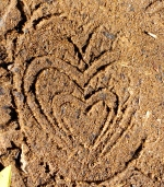 Heart footprint in the dirt